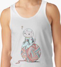 Space Cat on Planet Yarn Ball Débardeurs