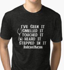 53122f38 Funny Nurse Retirement Tri-blend T-Shirt