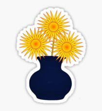 Orange flowers in blue vase Tee Sticker