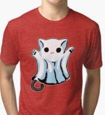 Cute Boo Ghost Cat Halloween Tri-blend T-Shirt