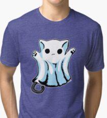 Cute Boo Ghost Cat Halloween Tri-blend T-Shirt