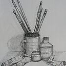 Still life with Brushes by Geraldine M Leahy
