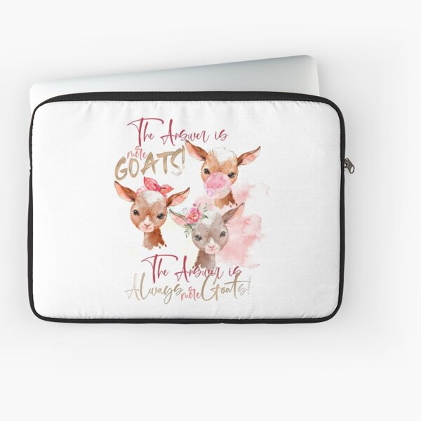 The Answer Is More Goats Watercolor  Laptop Sleeve