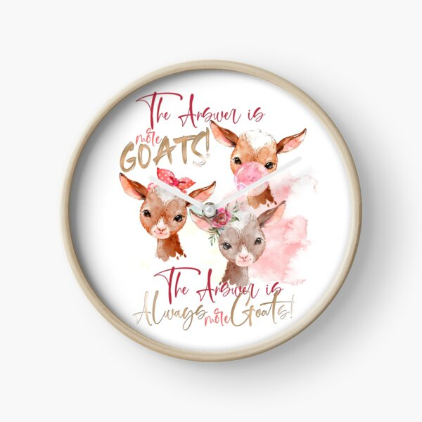The Answer Is More Goats Watercolor  Clock