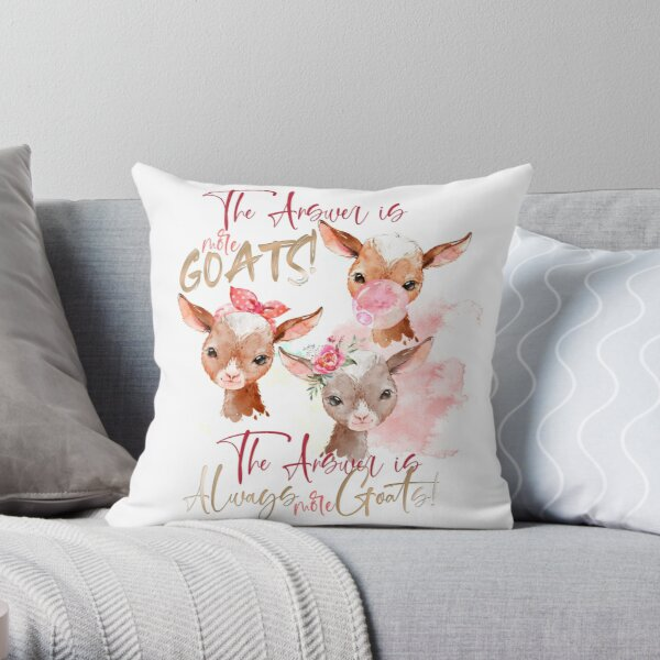 The Answer Is More Goats Watercolor  Throw Pillow