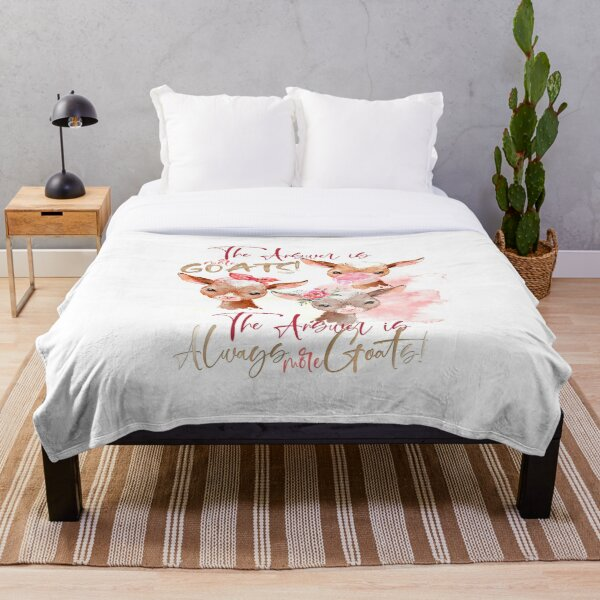 The Answer Is More Goats Watercolor  Throw Blanket