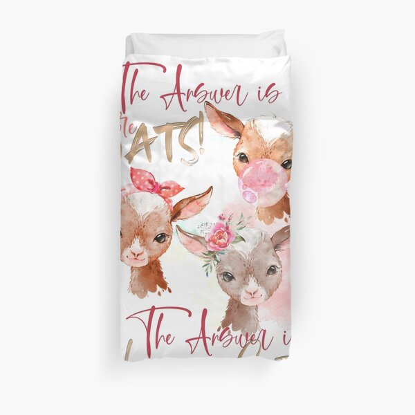 The Answer Is More Goats Watercolor  Duvet Cover
