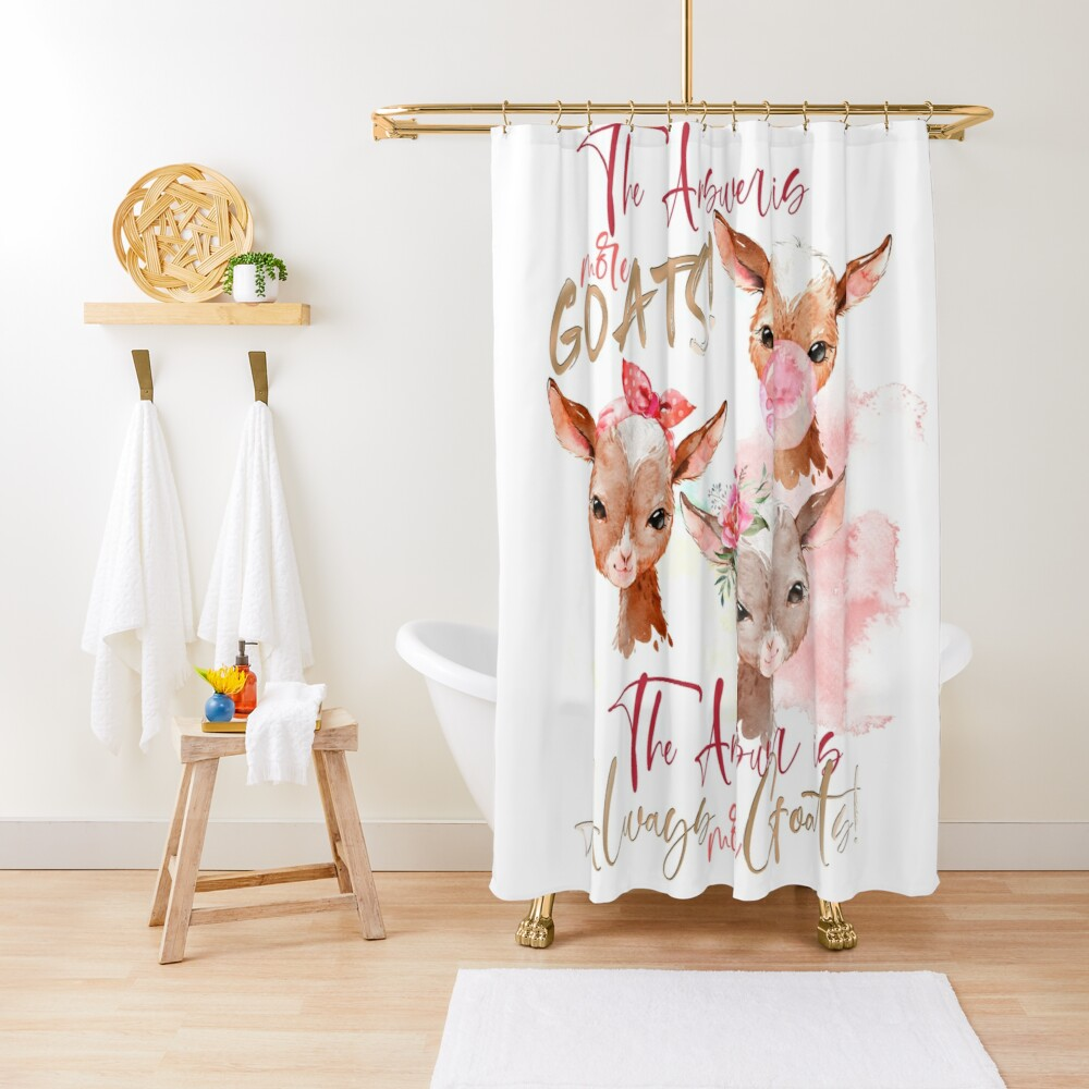The Answer Is More Goats Watercolor  Shower Curtain