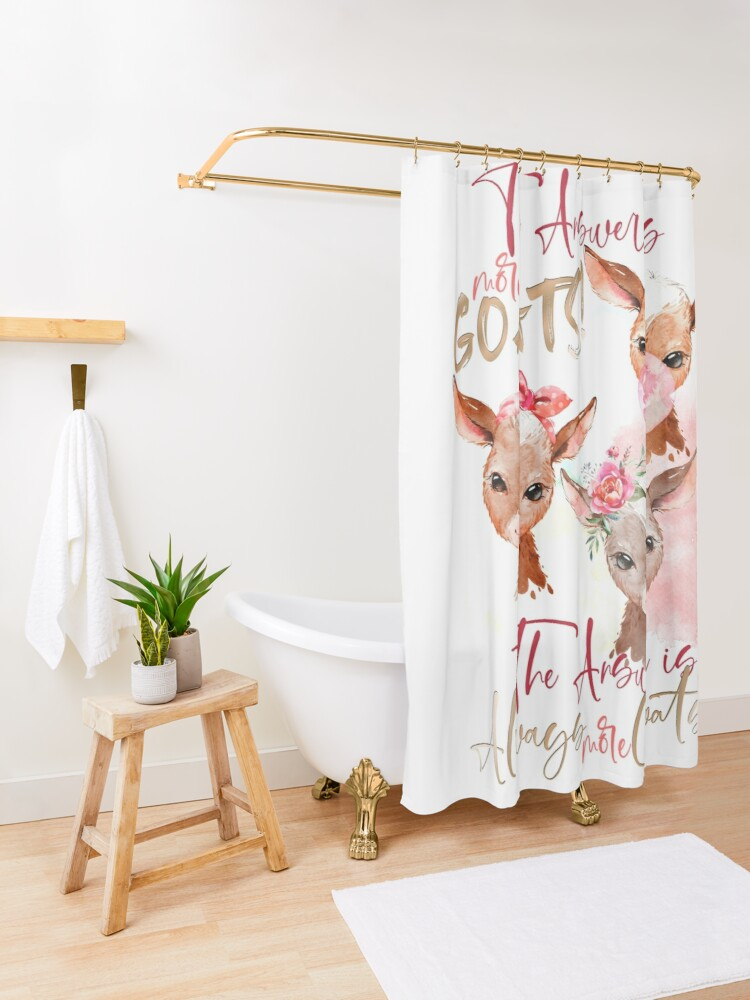 Alternate view of The Answer Is More Goats Watercolor  Shower Curtain