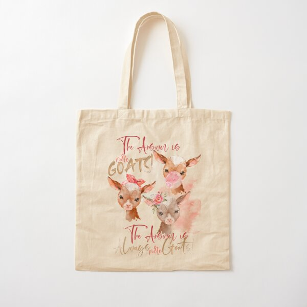 The Answer Is More Goats Watercolor  Cotton Tote Bag