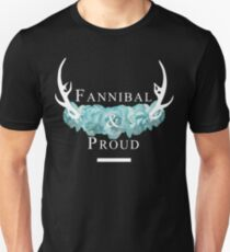 'Fannibal & Proud' w/ Flower (Black Background/White Font) T-Shirt