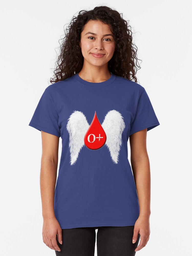 Alternate view of Blood Type O Positive - Angel Wings Classic T-Shirt