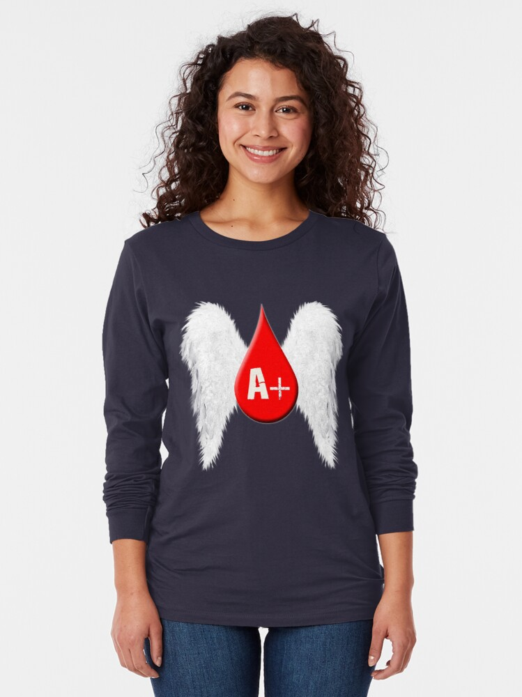 Alternate view of Blood Type A Positive - Angel Wings Long Sleeve T-Shirt
