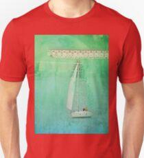 White Sail Boat Plus Green Blue Texture T-Shirt