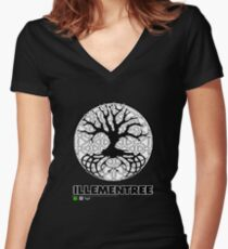 Illementree Logo Merch 2 - solid white flower Women's Fitted V-Neck T-Shirt