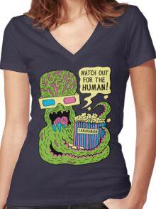 Alien Monster Movie Women's Fitted V-Neck T-Shirt