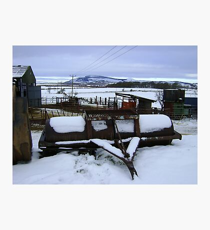 Farmyard metal - Christmas day snowscape Photographic Print