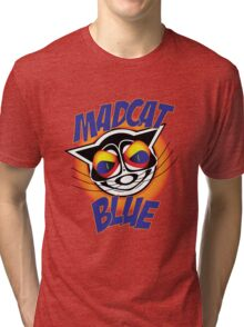 Mad Cat Blue Tri-blend T-Shirt