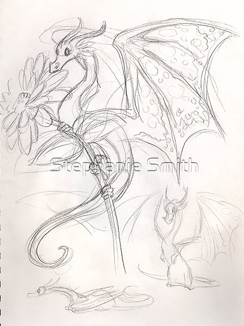 Drawing Day sketchbook page 1 - little dragons by Stephanie Smith