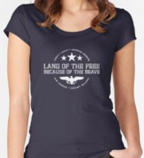 Land of the Free - White Women's Fitted Scoop T-Shirt