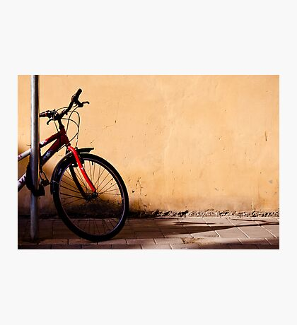 half of red bicycle Photographic Print