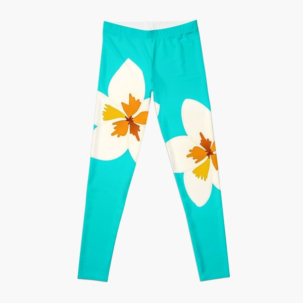 White Tropical Flowers Leggings