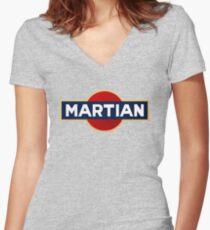 Martian martini Women's Fitted V-Neck T-Shirt