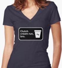Clutch cream run, bro. Fitted V-Neck T-Shirt