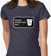 Clutch cream run, bro. Fitted T-Shirt
