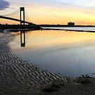 Sunrise by the Verrazzano Narrows Bridge. by Edward Mahala