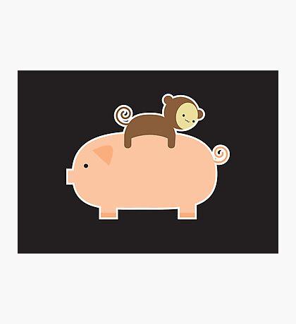 Baby Monkey Riding Backwards on a Pig - Black Bg Photographic Print