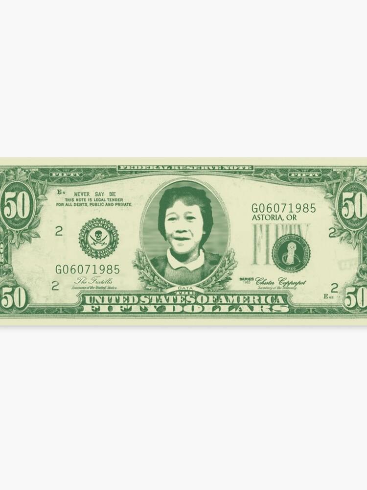 50 Dollar Bill - The Goonies   Canvas Print