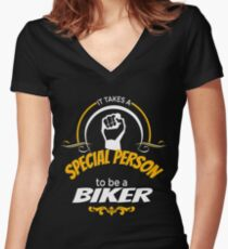IT TAKES A SPECIAL PERSON TO BE A BIKER Women's Fitted V-Neck T-Shirt