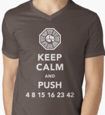 Keep calm and push 4 8 15 16 23 42 Men's V-Neck T-Shirt