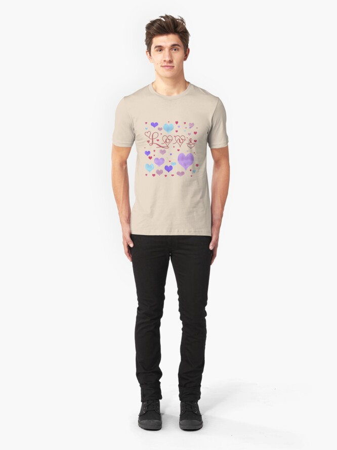 Alternate view of Love Hearts Valentine Or Anytime. Slim Fit T-Shirt