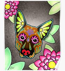 Day of the Dead German Shepherd in Brown Sugar Skull Dog Poster