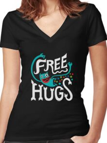 Free Hugs - on dark Women's Fitted V-Neck T-Shirt