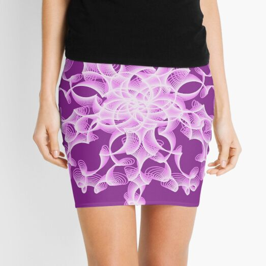 Delicate Abstract Flower in Lilac Mini Skirt