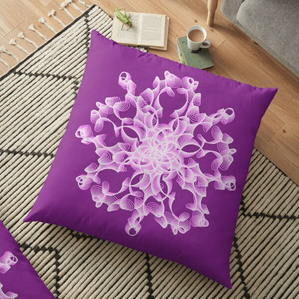 Delicate Abstract Flower in Lilac Floor Pillow