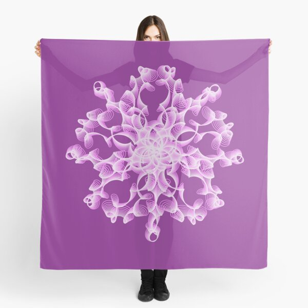 Delicate Abstract Flower in Lilac Scarf