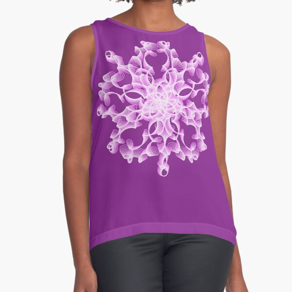 Delicate Abstract Flower in Lilac Sleeveless Top