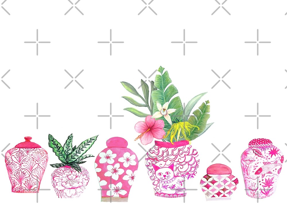 chinese ginger jars with palms and tropical flowers, pink chinoiserie , classic blue by MagentaRose