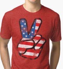 Retro American Peace Shirt Tri-blend T-Shirt