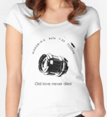 Nikkor 105mm Black Old love never dies! Women's Fitted Scoop T-Shirt