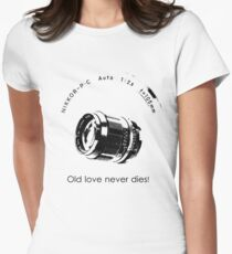 Nikkor 105mm Black Old love never dies! Women's Fitted T-Shirt