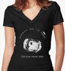 Nikkor 105mm White Old love never dies! Women's Fitted V-Neck T-Shirt