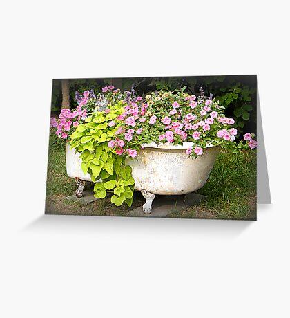 Flower Garden in a Bathtub Greeting Card