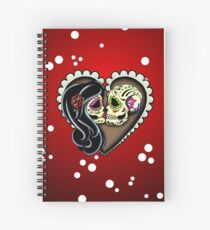 Ashes - Day of the Dead Couple - Sugar Skull Lovers Spiral Notebook