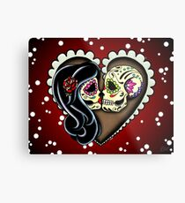 Ashes - Day of the Dead Couple - Sugar Skull Lovers Metal Print