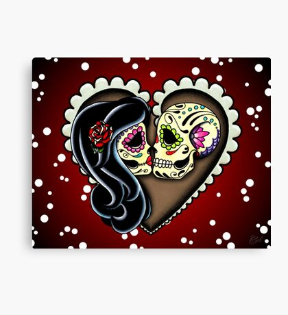 Ashes - Valentine's Day of the Dead Couple - Sugar Skull Lovers Canvas Print
